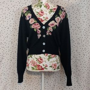 Black vintage floral cardigan